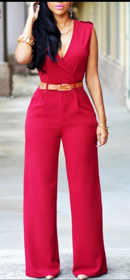 enterizo largo ajustado pantalón ancho