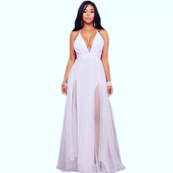 Vestido largo en transparencia blanco
