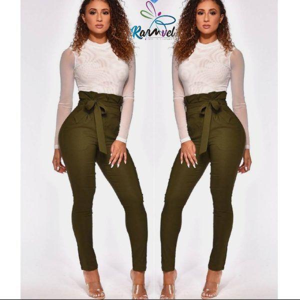 pantalón talle alto strech con detalle en pretina verde