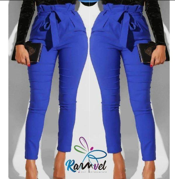 pantalón talle alto strech con detalle en pretina azul