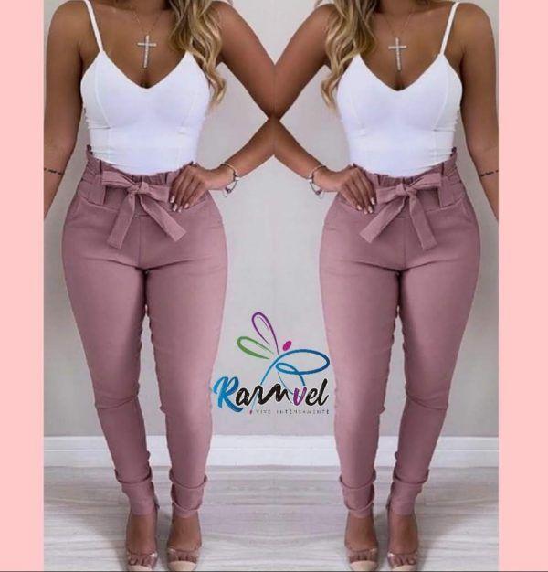 pantalón talle alto strech con detalle en pretina palo de rosa