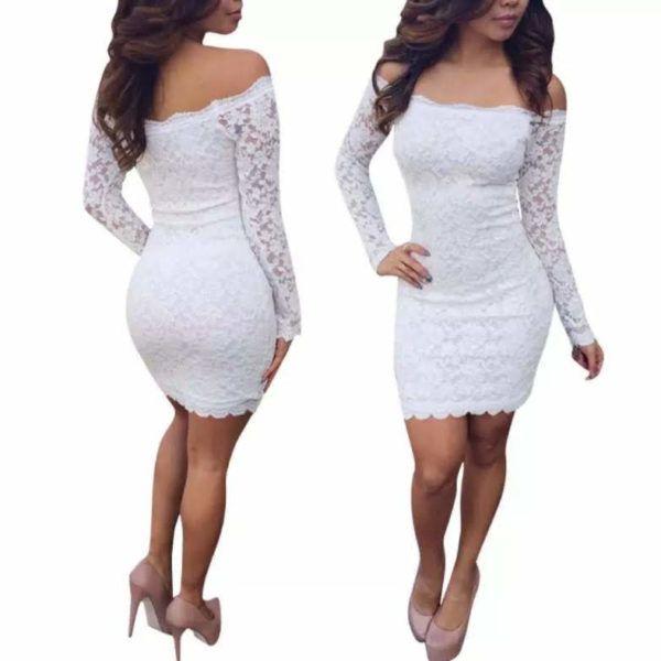 vestido corto marga larga blonda