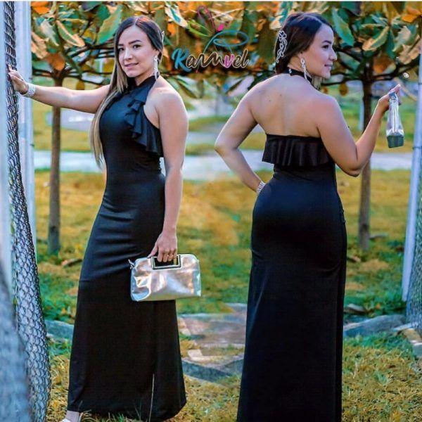 vestido largo elegante con bolero