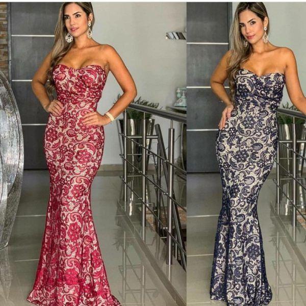 vestido largo elegante strapless efecto piel