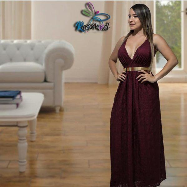 vestido largo elegante vino tinto