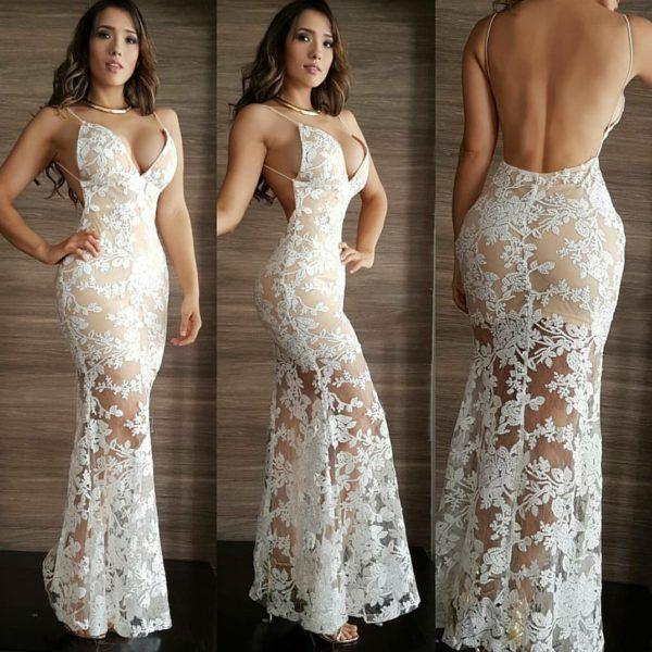 Vestido elegante largo efecto piel blanco