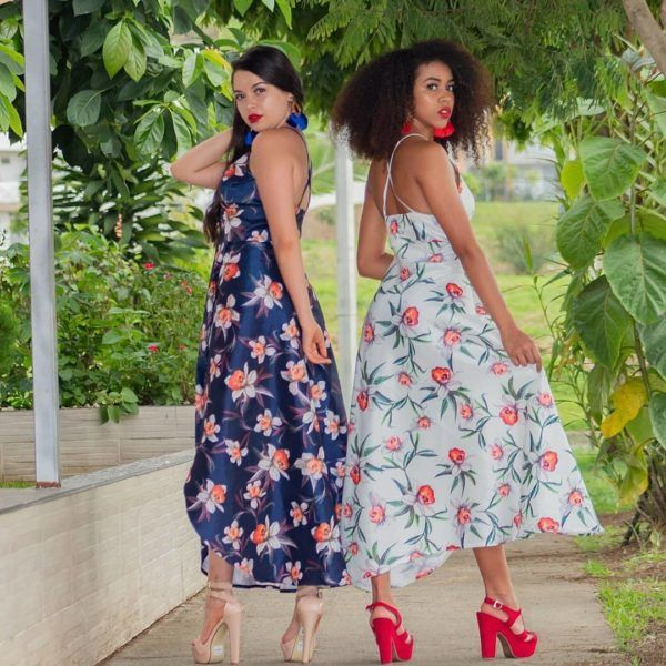 Vestido tafetán estampado flores