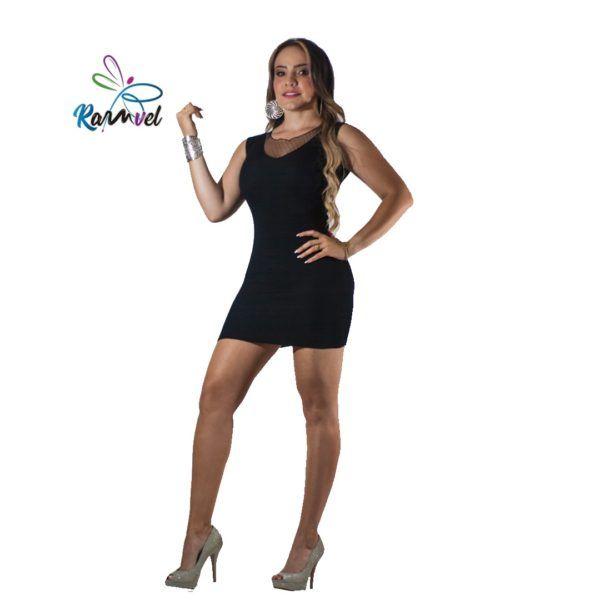Vestido corto hilo tejido negro