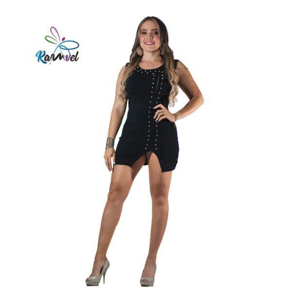 Vestido corto hilo tejido y remaches negro