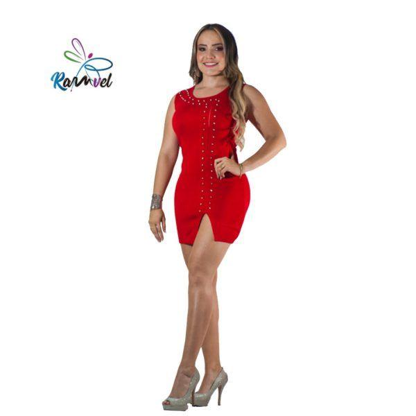 Vestido corto hilo tejido y remaches rojo