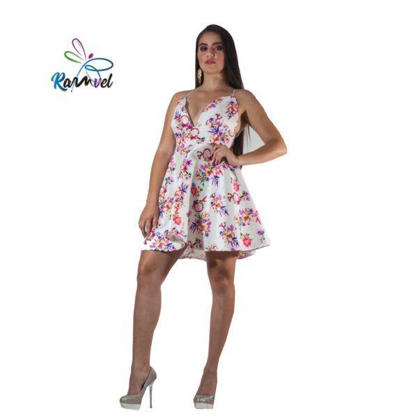Vestido tafetán flores