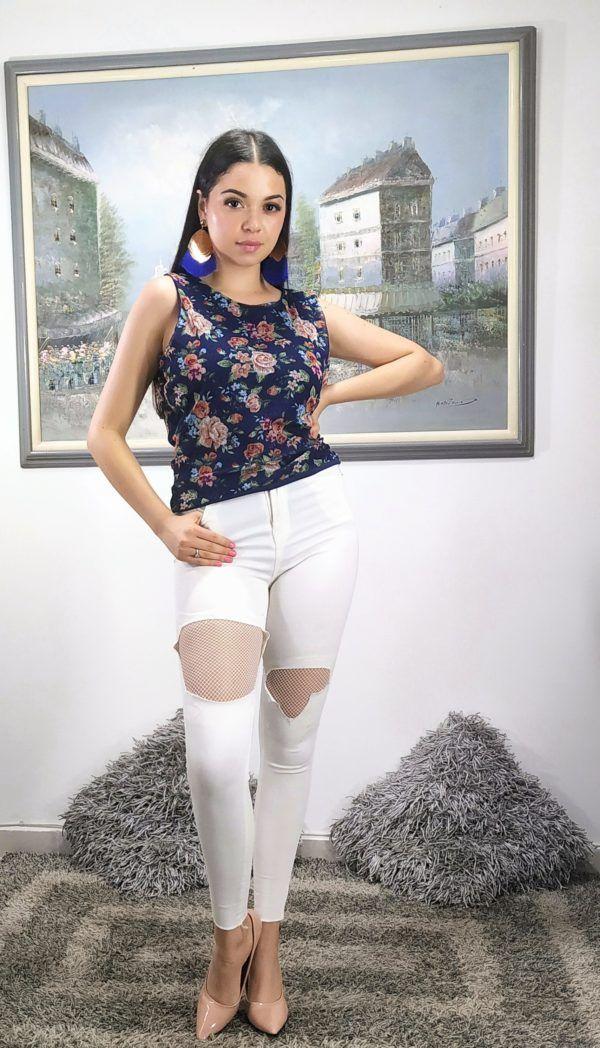 Blusa sin mangas floral 1