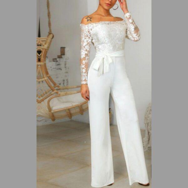 Enterizo hombros descubiertos pantalón recto blanco