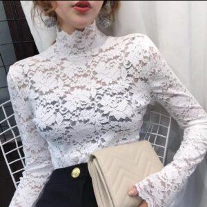 blusa manga larga cuello alto